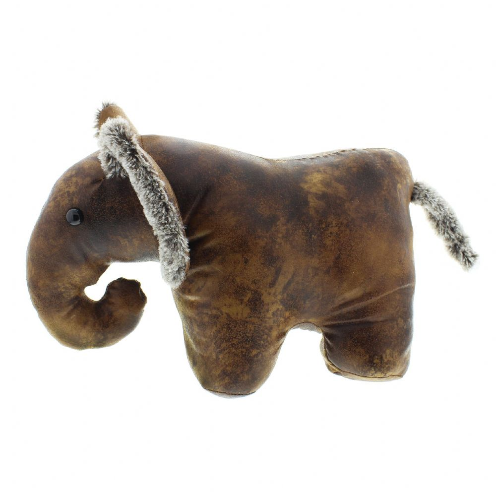 Brown Leather Effect Fluffy Luxury Animal Doorstop - Elephant